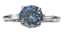 Rare Indigo Blue Spinel and Diamond Ring