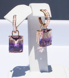 Ametrine & Diamond 18K Dangle Earrings