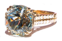 Rare Untreated Blue Topaz & Diamond 18K Ring