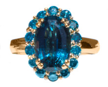 Rare Indicolite Tourmaline & Diamond 18K Ring