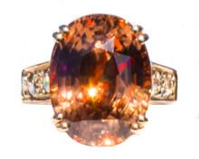 17 ct Orange Zircon & Diamond 18K Ring