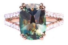 Green Oregon Sunstone & Diamond 18K Ring