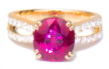 Rubellite Tourmaline & Diamond Designer 18K Ring