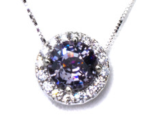 Violet Spinel & Diamond 18K Pendant with Chain