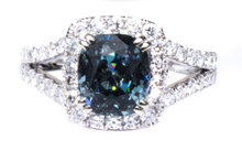 Steel Blue Spinel and Diamond Ring 18K