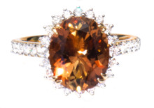 Rare Russian Imperial Topaz & Diamond Ring