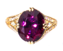Rare Burmese Magenta Spinel & Diamond 18K Ring