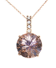 8.9 carat Round Morganite & Diamond 18K Rose Gold Pendant with Chain
