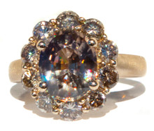 Imperial Zircon & Champagne Diamond Ring