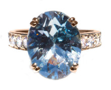 Untreated (Natural) Blue Topaz & Diamond 18K Ring