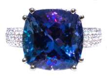 7 ct. Unheated Tanzanite & Diamond 18K Ring