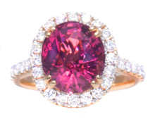 Rare Burmese Hot Pink Spinel & Diamond 18K Ring