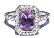 Natural Violet Sapphire & Diamond 18K Ring