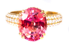 Extremely Rare Bekily (Padparadscha) Color Change Garnet & Diamond 18K Ring