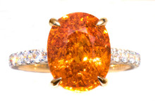 Rare Fanta Mandarin Garnet & 18k Yellow Gold Ring