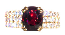 Rare Burmese Red Spinel & Diamond 18k Ring