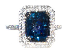 Rare Color Change Blue Spinel & Diamond 18K White Gold Ring