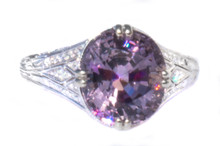 Rare Violet Spinel & Diamond 18K White Gold Ring