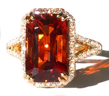 8.4 ct. Mandarin Garnet & 18K Yellow Gold Ring