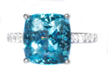 6.11 ct. Santa Maria Aquamarine and Diamond 18K Ring