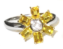 Natural Montana Yellow Sapphire & Diamond 18k Ring