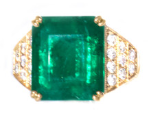 9.61 ct Emerald and Diamond 18K Ring