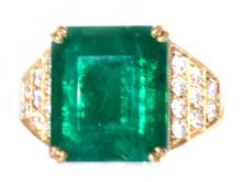 9.61 ct Emerald and Diamond 18K Ring