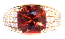 Oregon Copper-bearing Sunstone & Diamond 18k Ring