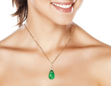 16 ct Emerald & Diamond Pendant with Chain
