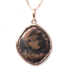 Ancient Roman Bronze Coin Pendant in 18k Rose Gold with Chain