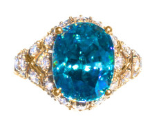 Blue Zircon & Diamond 18K Ring