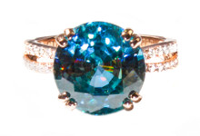 11 ct. Blue Zircon & Diamond 18k Ring