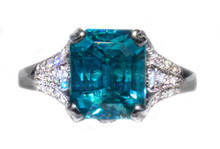 5ct Blue Zircon & Diamond 14k White Gold Ring