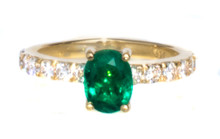 1 ct Gorgeous Emerald and Diamond 18K Ring