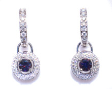 Rare Color Change Bekily Garnet & Diamond Dangle Earrings