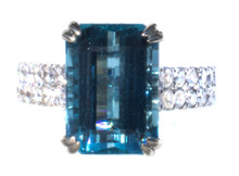 6.24 ct. Santa Maria Aquamarine and Diamond 18K Ring