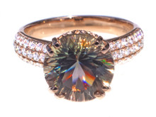 Round Oregon Copper-bearing Sunstone & Diamond 18k Ring