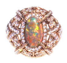 Lightning Ridge Black Opal & Diamond Ring