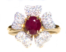 Natural Burmese Ruby & Diamond  Flower Ring