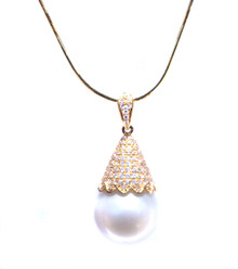 South Sea Pearl & Diamond 18K Pendant with Chain