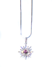 Spinel & Diamond Sunburst Pendant with Chain