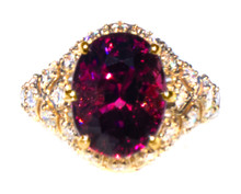 Rare Bekily Color Shift Garnet & Diamond 18K Ring