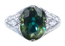 Bicolor Bullseye Sapphire & Diamond Ring 18K
