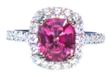 Rare Hot Pink Spinel & Diamond 18K Ring