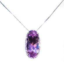 Kunzite and Diamond 18K Pendant with Chain