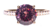 Dark Pink Zircon & Diamond 18K Rose Gold Ring