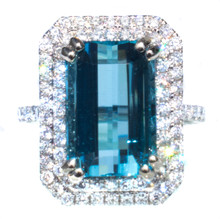 6+ ct. Santa Maria Aquamarine and Diamond 18k Ring