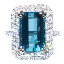 6+ ct. Santa Maria Aquamarine and Diamond 18k Ring