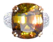 17.8 ct Sphene & Diamond Ring