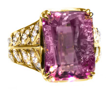 Rosy Pink Tourmaline & Diamond 18K Ring